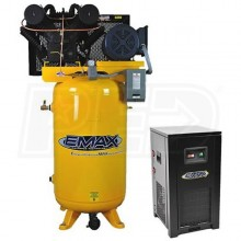 EMAX Industrial Plus 10-HP 80-Gallon V-4 Two-Stage Air Compressor w/ Dryer (208/230V 1-Phase)