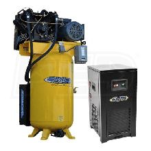 EMAX Silent Industrial Plus 10-HP 80-Gallon Two-Stage Air Compressor w/ Dryer (230V 3-Phase)